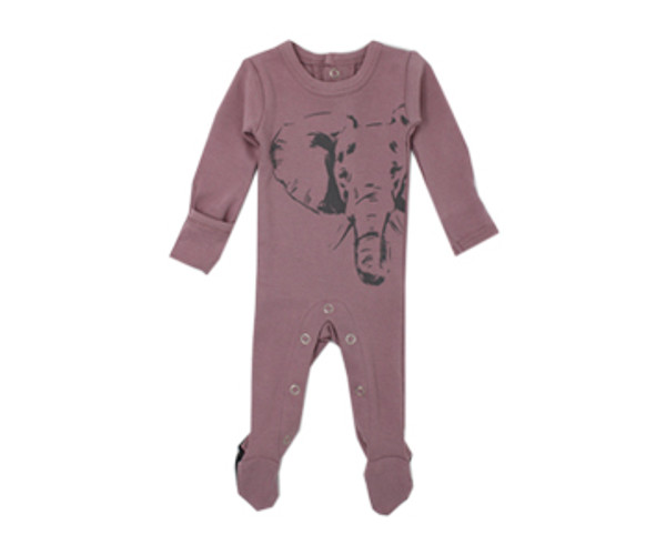 Organic Graphic Footie in Lavender Elephant, Flat