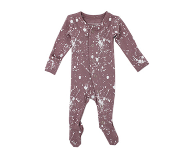 Organic Footed Overall in Lavender Splatter, Flat