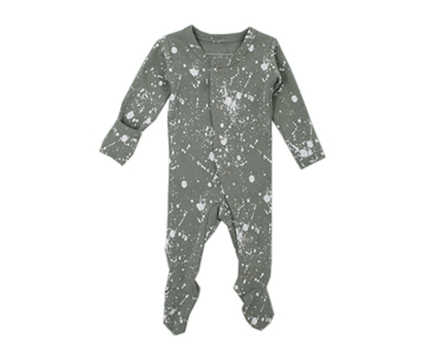 Organic Footed Overall in Seafoam Splatter, Flat