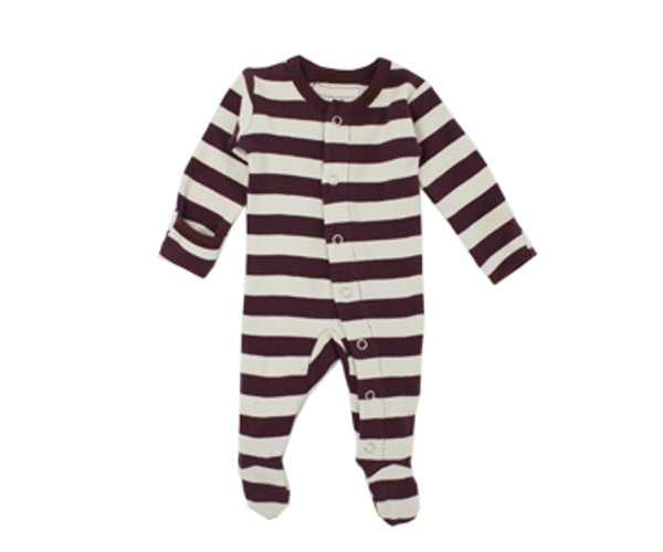 Organic Footed Overall in Eggplant/Stone Stripe, Flat