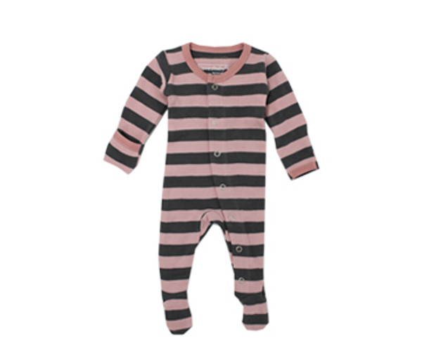 Organic Footed Overall in Mauve/Gray Stripe, Flat