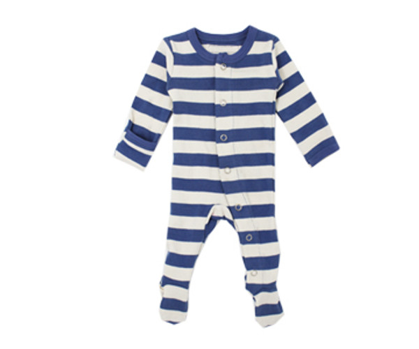 Organic Footed Overall in Slate/Beige Stripe, Flat