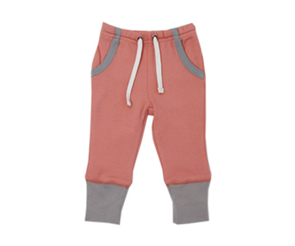 Organic Jogger Pants in Coral/Light Gray, Flat