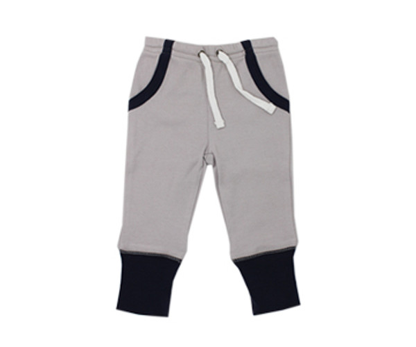 Organic Jogger Pants in Navy/Light Gray, Flat