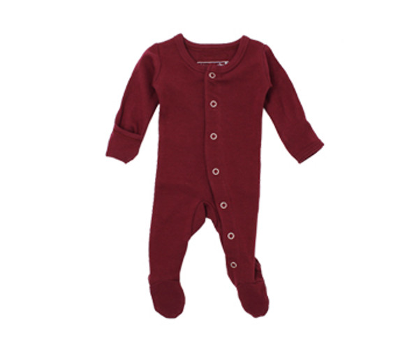 Organic Footed Overall in Cranberry, Flat
