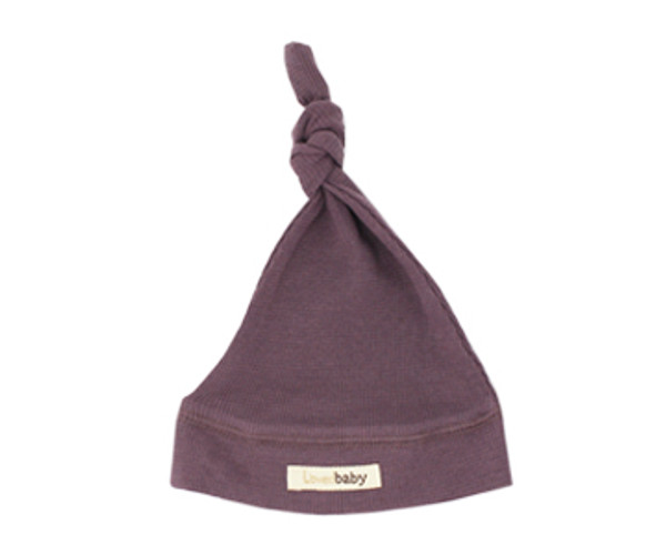 Organic Thermal Knotted Cap in Amethyst, Flat