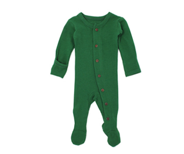 Organic Thermal Footed Overall in Emerald, Flat