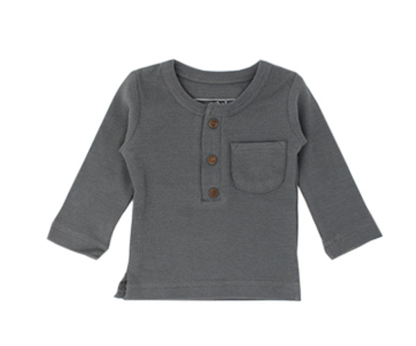 Organic Thermal Kids' L/Sleeve Shirt in Graphite, Flat