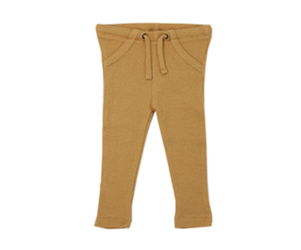 Organic Thermal Drawstring Fitted Pants in Topaz, Flat