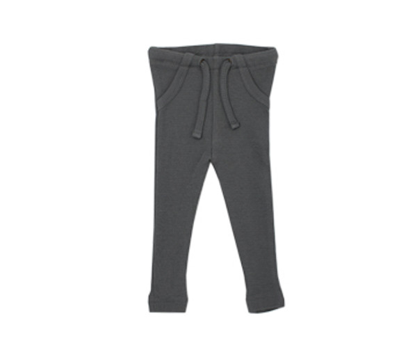 Organic Thermal Drawstring Fitted Pants in Graphite, Flat