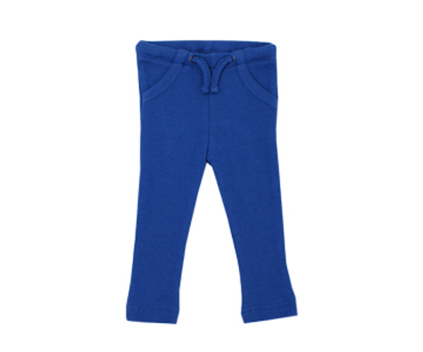 Organic Thermal Drawstring Fitted Pants in Sapphire, Flat