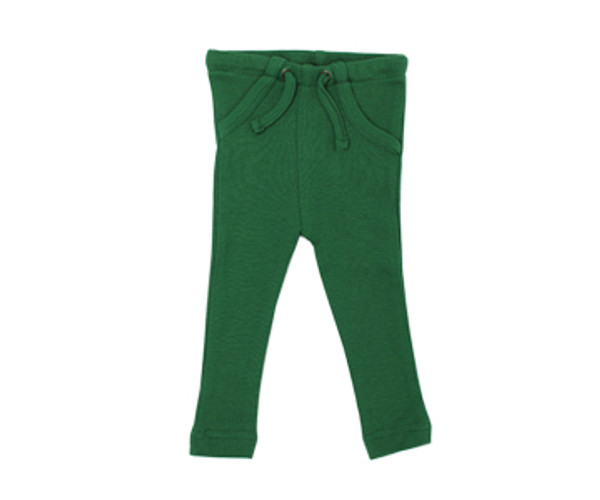 Organic Thermal Drawstring Fitted Pants in Emerald, Flat