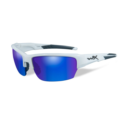 Wiley X Saint | Polarised Blue Mirror Green Lens w/Gloss White Frame