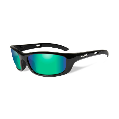 P-17GM | Polarised Emerald Mirror Lens w/ Gloss Black Frame