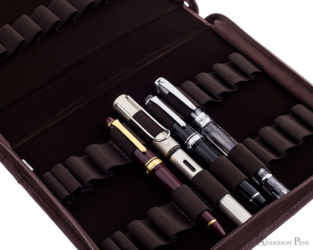 24 Pen Case Brown Leather