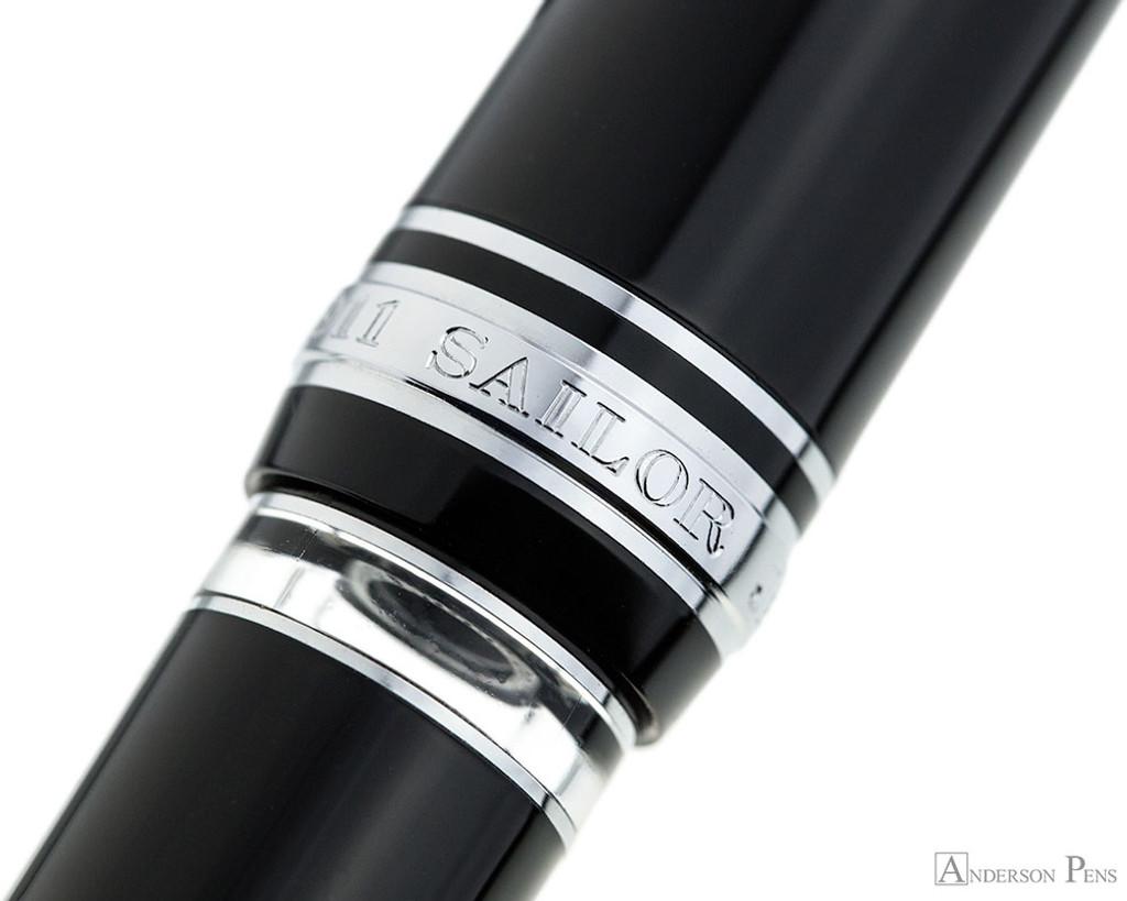 Sailor 1911 Realo Fountain Pen - Black with Silver Trim
