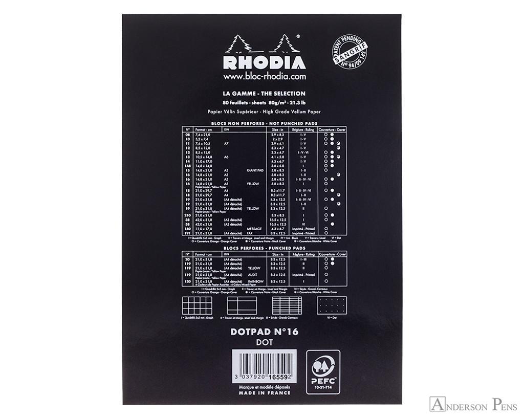 Rhodia No. 16 Notepad - 6 x 8.25, Dot Pad - Black