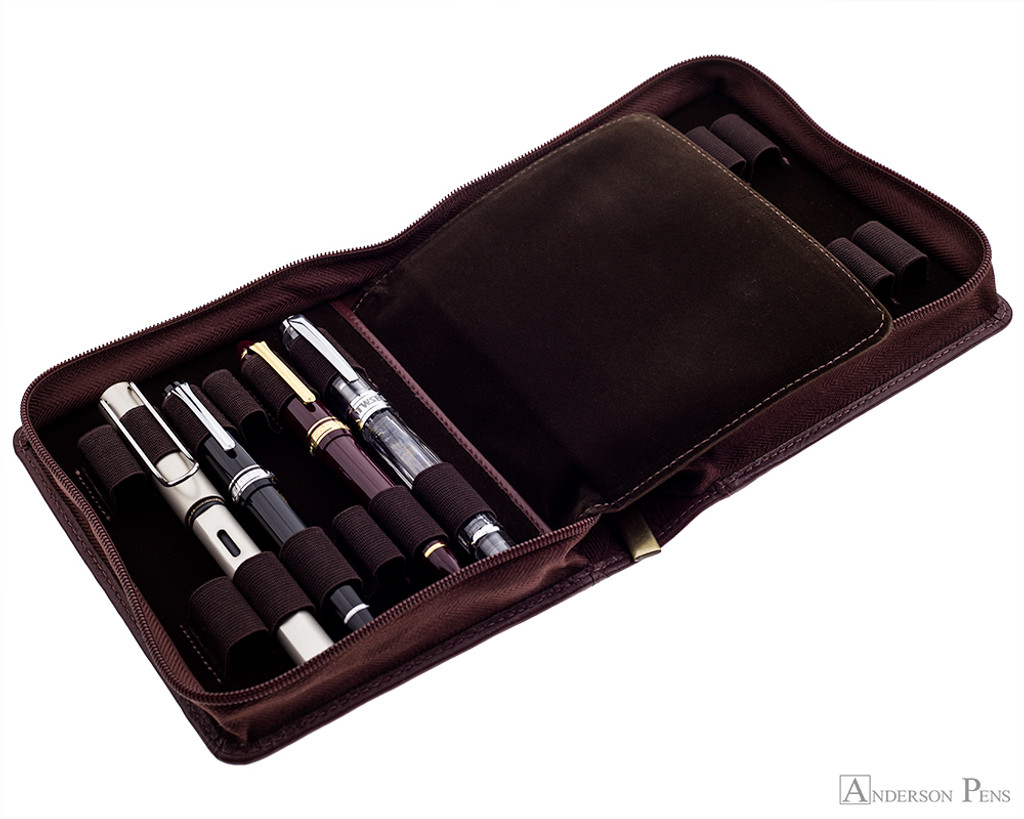 12 Pen Case Brown Leather