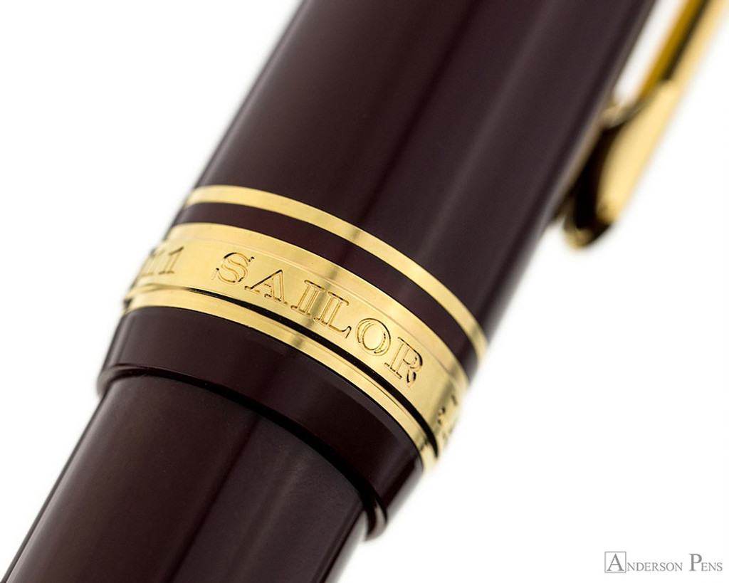 Sailor 1911 Large Fountain Pen - Maroon with Gold Trim, Lefty Nib