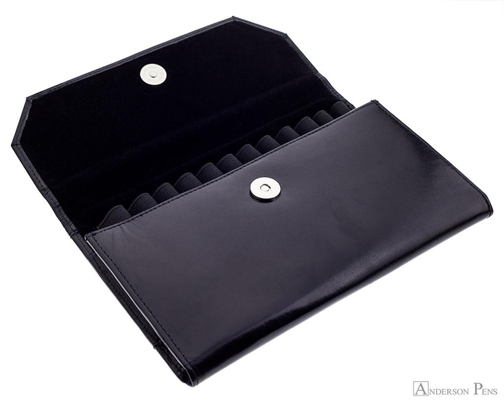 12 Pen Case Portfolio Black Leather