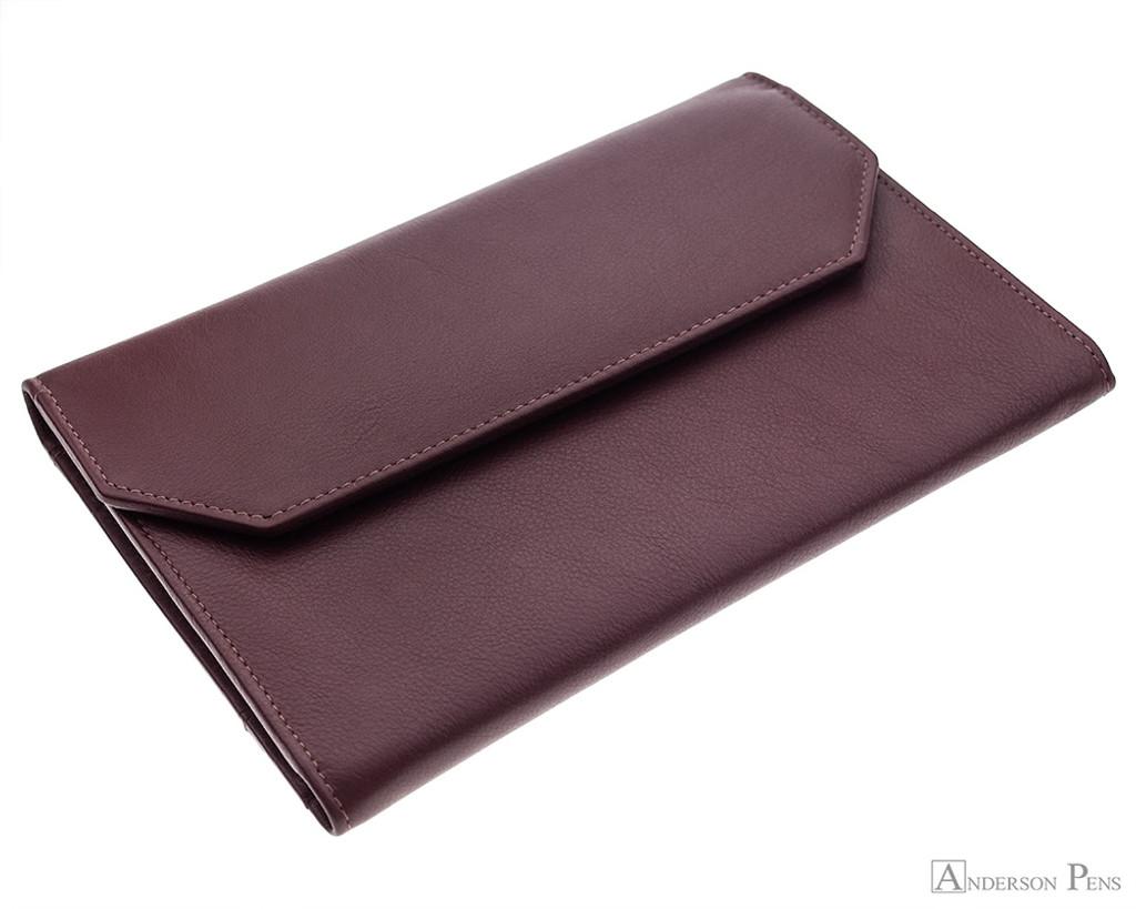 12 Pen Case Portfolio Brown Leather