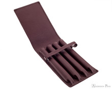 4 Pen Case Brown Leather