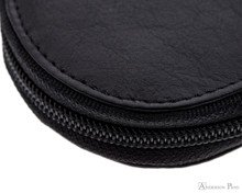 3 Zip Pen Case Black Leather