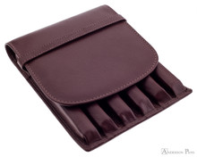 6 Pen Case Brown Leather