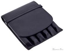 6 Pen Case Black Leather