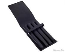 4 Pen Case Black Leather