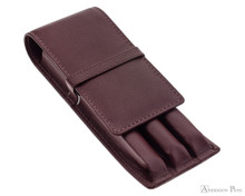 3 Pen Case Brown Leather