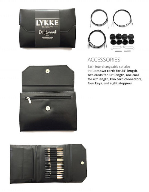 Lykke Driftwood Interchangeable Needles - Black Faux Leather