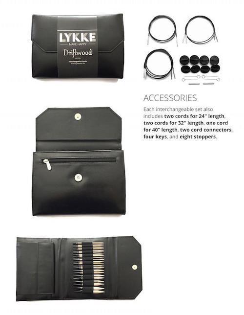 Lykke Driftwood Interchangeable Needles - Black Faux Leather