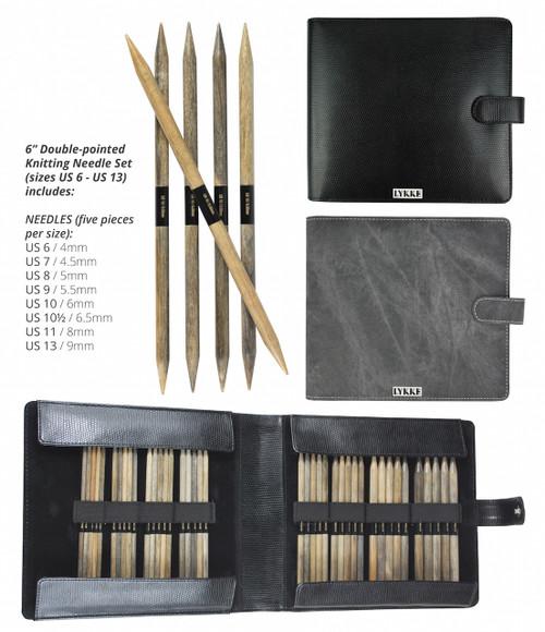 "Lykke Driftwood 6"" Double Point Needles US 6-13"