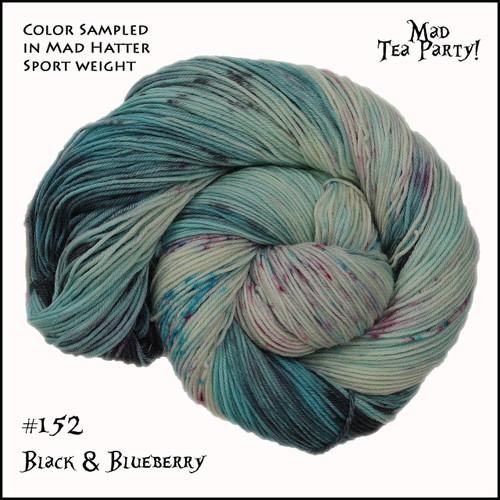 Frabjous Fibers: Wonderland Yarns - Cheshire Cat - Black and Blueberry 152