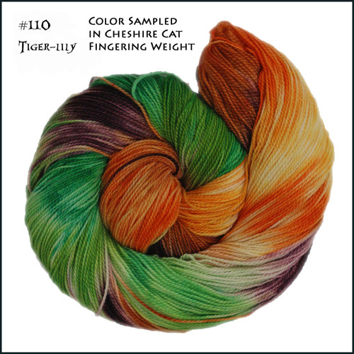 Frabjous Fibers: Wonderland Yarns - Cheshire Cat - Tiger Lily 110