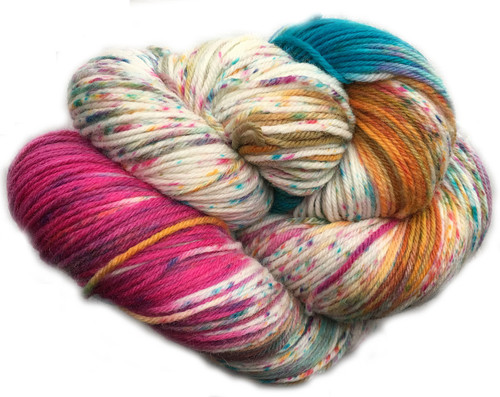 Araucania Huasco Sock Hand Paint - Guacamayo 1006 - just too much fun.   Totally teal, vibrant fuschia, warm gold all on a background of natural.