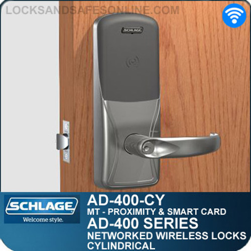 Schlage AD-400-CY - Networked Wireless Cylindrical Locks - Multi-Technology | Proximity and Smart Card