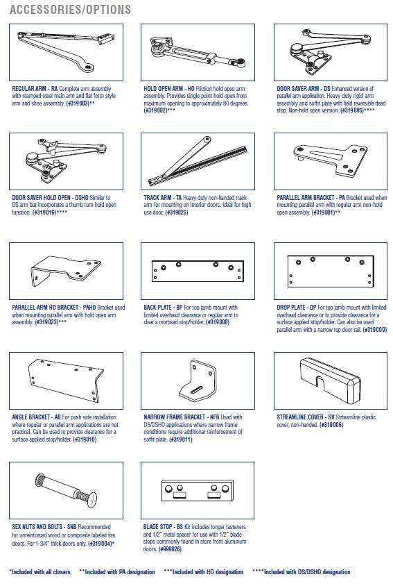 PDQ 3100 Door Closer Accessories | PDQ 3101 Door Closer Accessories