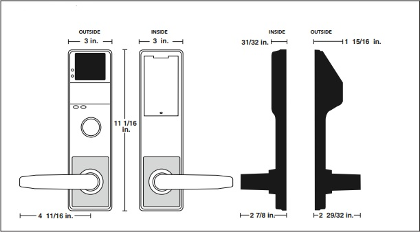 Alarm Lock DL4500DB Diagram | Alarm Lock DL4500DB Commercial Door Lock Diagram