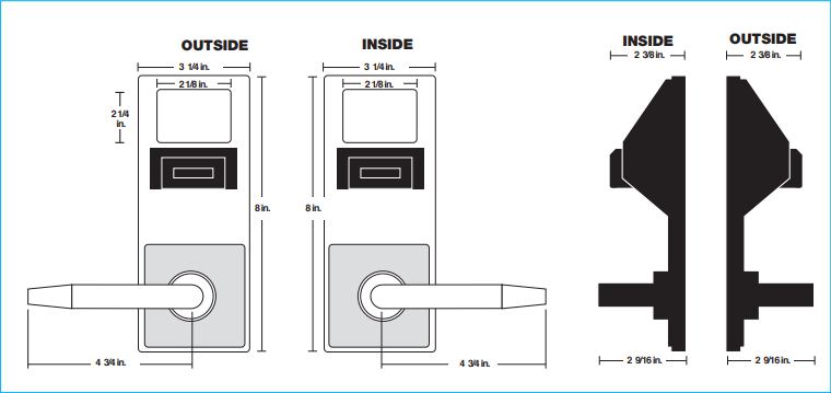 Alarm Lock Trilogy DL5275 Inside Outside Diagram | Alarm Lock Trilogy DL5275IC Inside Outside Diagram
