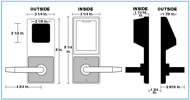 Alarm Lock Trilogy DL3075WP Inside Outside Diagram | Alarm Lock Trilogy DL3075WPIC Inside Outside Diagram
