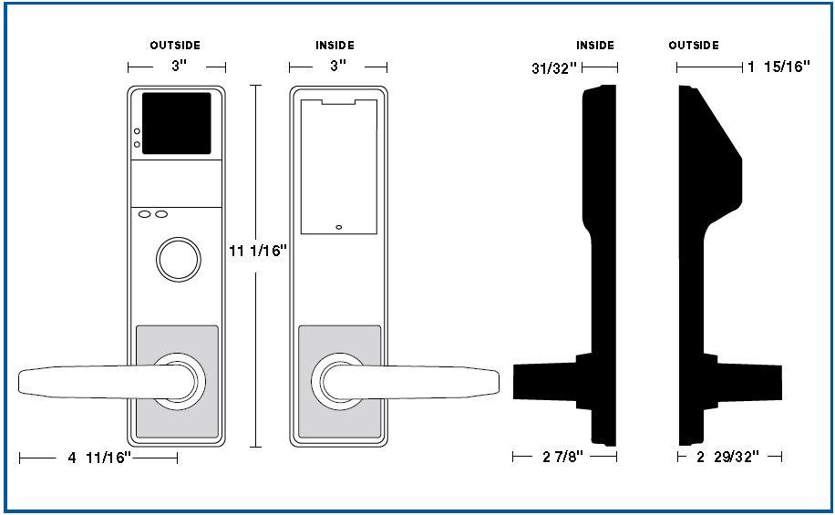 Alarm Lock DL3500DB Inside Outside Diagram