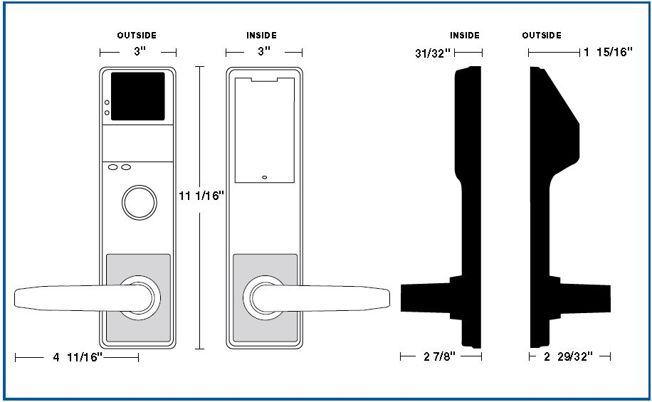 Alarm Lock DL3500CR Inside Outside Diagram