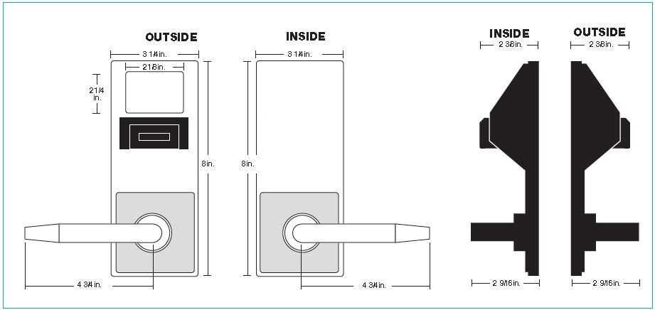 Alarm Lock PDL3575CR Inside Outside Diagram