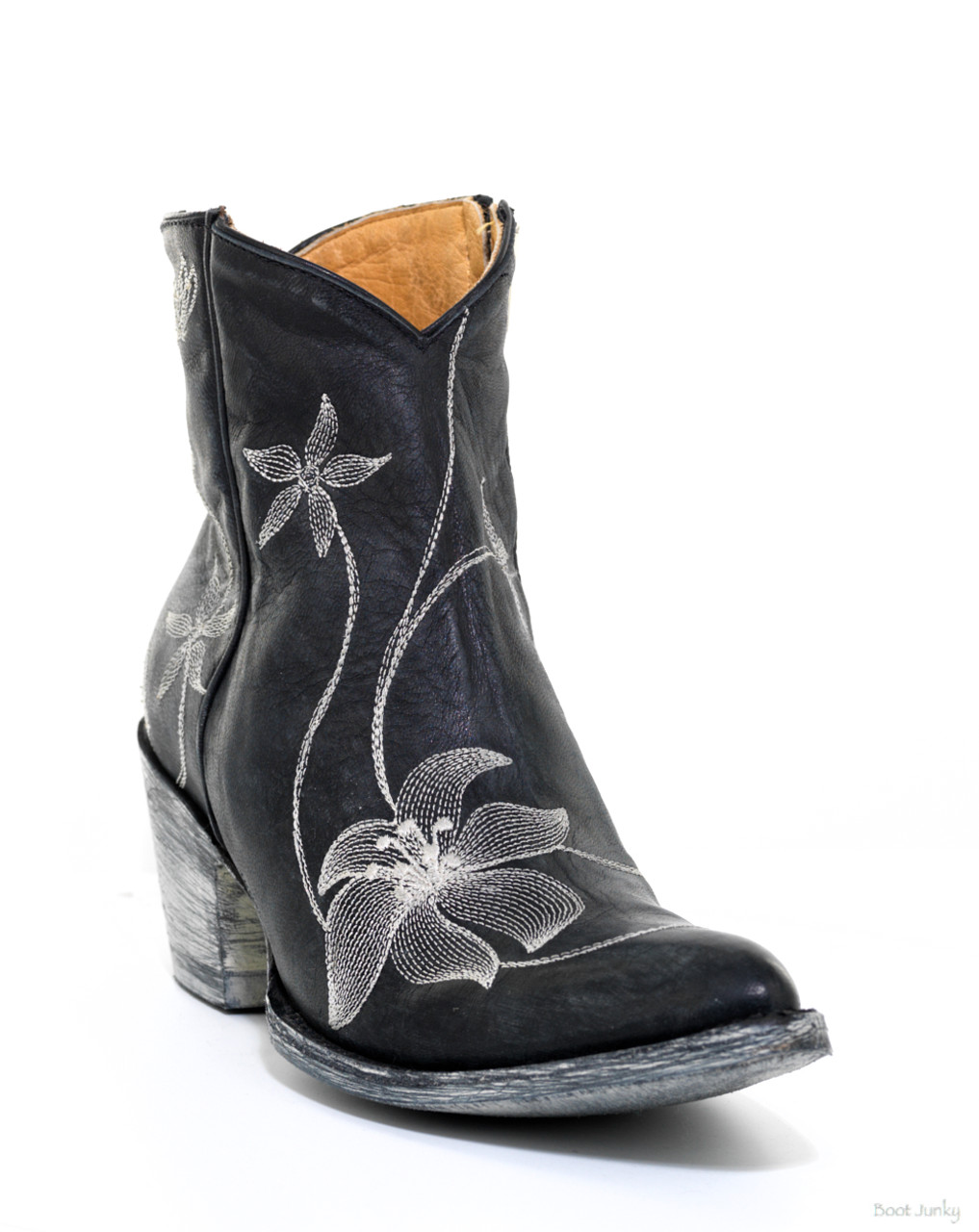 Bl1136 7 Old Gringo Black Flora Loca Embroidered Ankle Boots Detail
