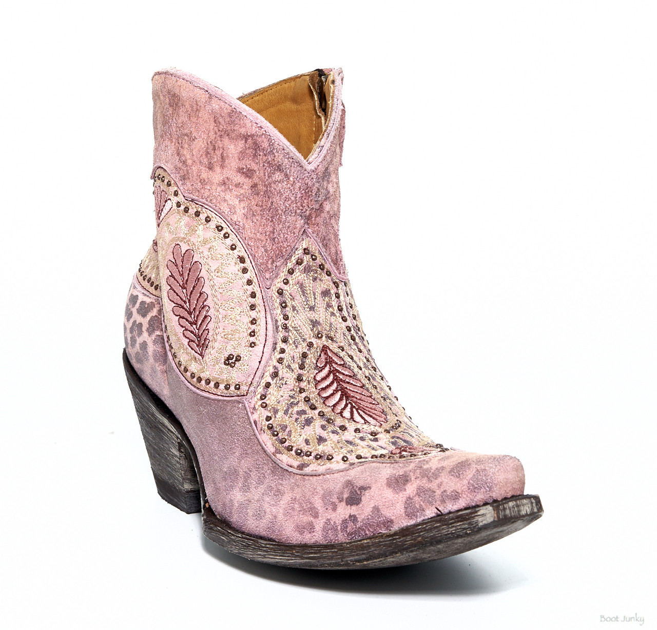Bl2978 4 Old Gringo Bianca Pink Leopardito Embroidered Ankle Boots Detail