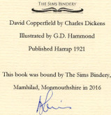 David Copperfield by Charles Dickens, 1921, Custom Sims Binding