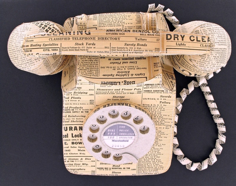 Vintage Paper Telephone By Jennifer Collier Hand Crafted Paper