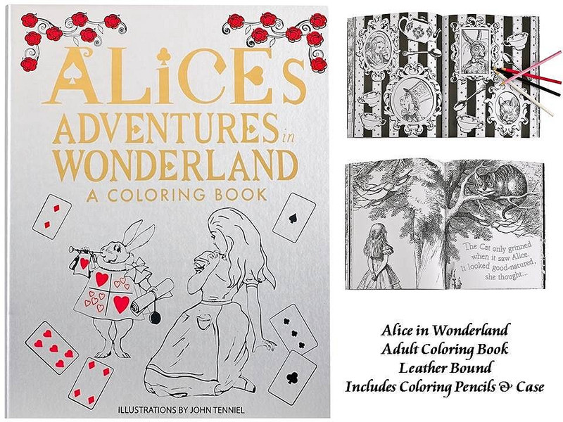Alice's Adventures in Wonderland, Leather Bound Adult Coloring Book